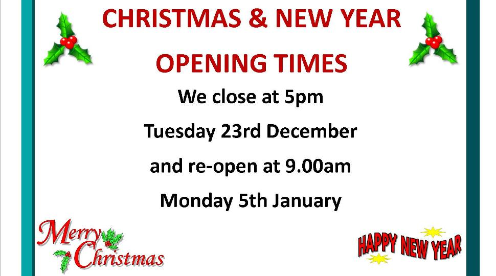 Christmas opening times 2014/15
