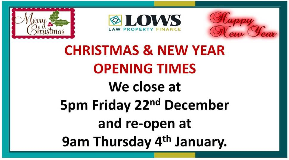 Christmas opening times 2017/18