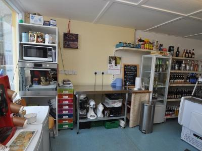 Kitchen area behind counter