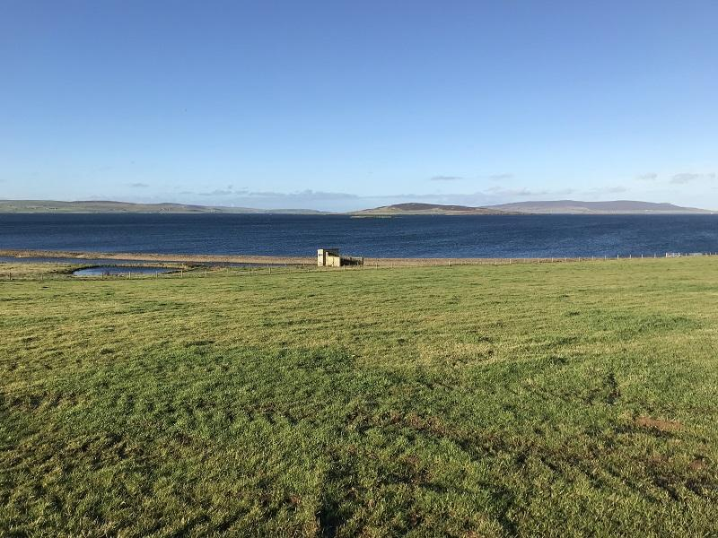 House plot site looking west towards Mainland Orkney